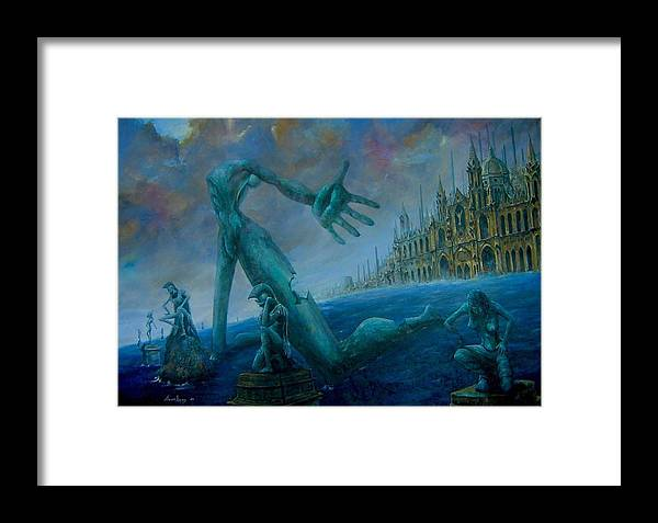 Landscapes Framed Print featuring the painting Suplica by Arien Xuan Lopez