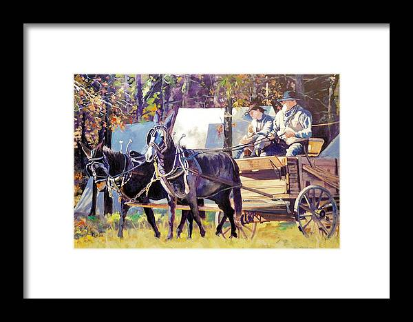 Civil War Framed Print featuring the painting Supply Wagon by Ron Lace