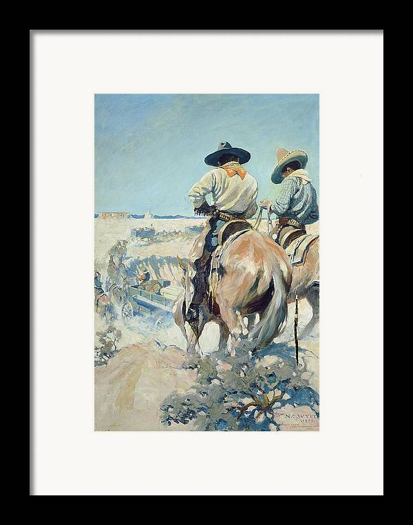 Horse Framed Print featuring the painting Supply Wagons by Newell Convers Wyeth