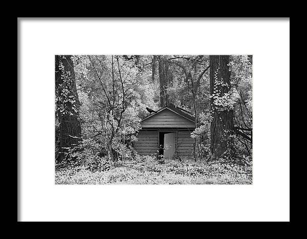 Surreal Infrared Landscape Framed Print featuring the photograph Sureal Gothic Infrared Woodlands Haunting Spooky Eerie Old Building With Black Ravens by Kathy Fornal