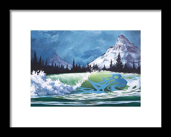 Wave Framed Print featuring the painting Surf and Snow by Philip Fleischer
