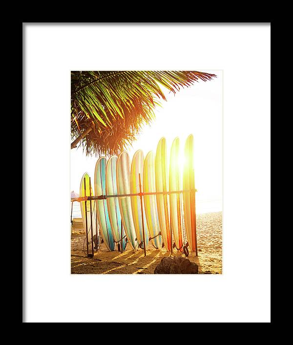 Recreational Pursuit Framed Print featuring the photograph Surfboards At Ocean Beach by Arand