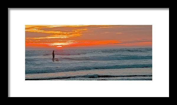 Coast Framed Print featuring the photograph Surfer At Sunset by Terry DeHart