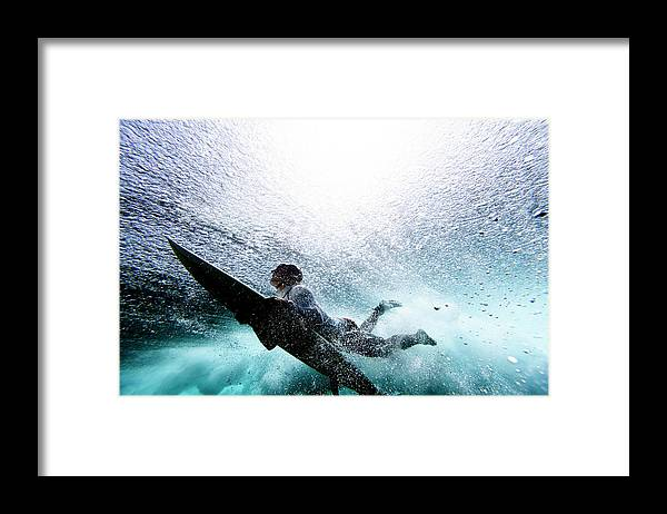 Expertise Framed Print featuring the photograph Surfer Duck Diving by Subman