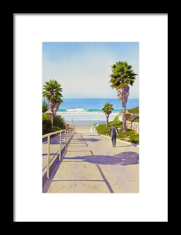 Surfer Framed Print featuring the painting Surfer Dude at Fletcher Cove by Mary Helmreich