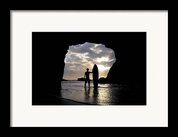 Horizon Framed Print featuring the photograph Surfer Inside A Cave At Muriwai New by Deddeda