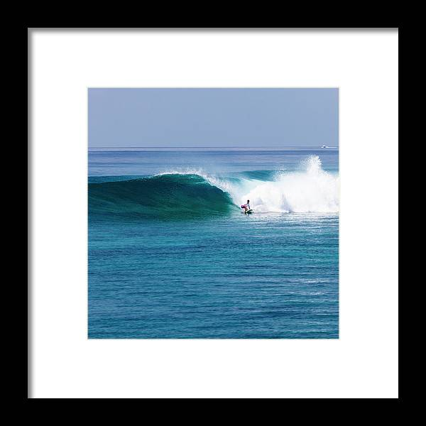 Recreational Pursuit Framed Print featuring the photograph Surfer Surfing A Wave by Subman