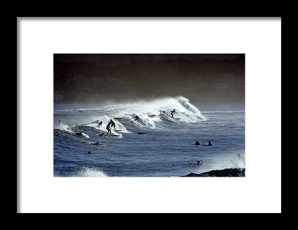 Recreational Pursuit Framed Print featuring the photograph Surfers At Bondi Beach by Oliver Strewe