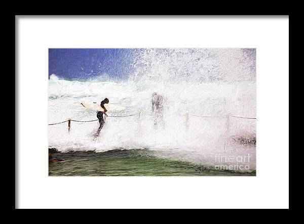Surf Framed Print featuring the photograph Surfers at rockpool by Sheila Smart Fine Art Photography