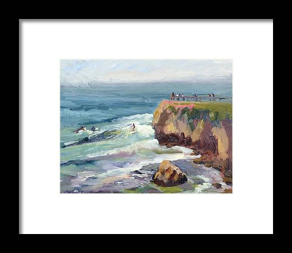 Surfers Framed Print featuring the painting Surfing At Steamers Lane Santa Cruz by Suzanne Elliott