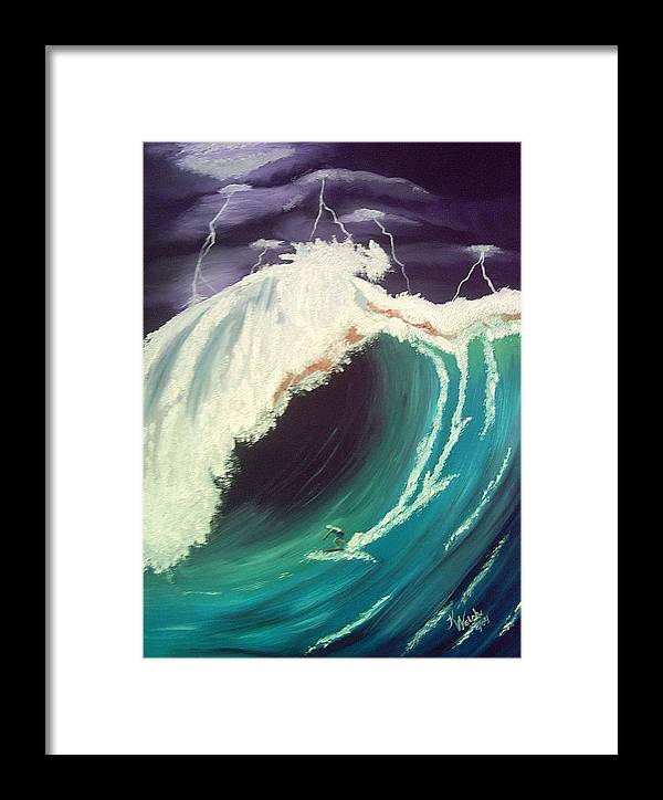 Waves Framed Print featuring the painting Surfing Dare Devil by Kathern Welsh