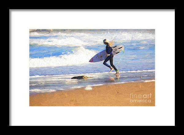 Surfer Framed Print featuring the photograph Surfing girl by Sheila Smart Fine Art Photography