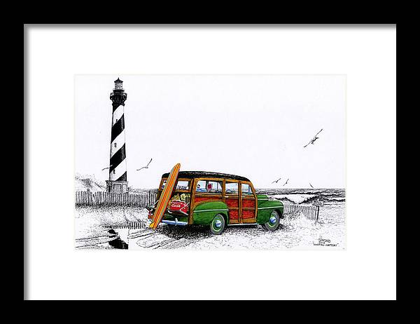 Hatteras Framed Prints Framed Print featuring the painting Surfing Hatteras by Terri Johnson