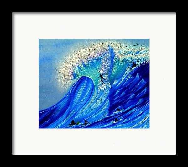 Surf Framed Print featuring the painting Surfing Party by Kathern Welsh
