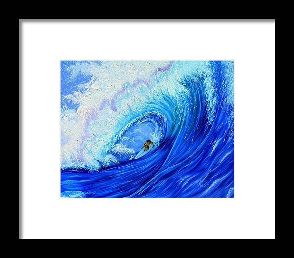 Surf Framed Print featuring the painting Surfing The Wild Wave by Kathern Welsh