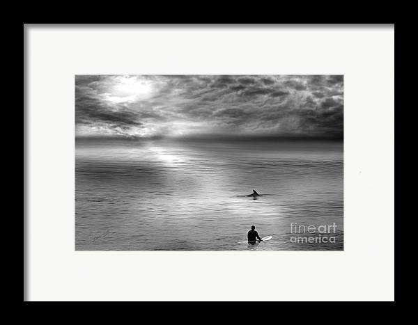 Dolphins Framed Print featuring the photograph Surfing With The Dolphin by Artist and Photographer Laura Wrede