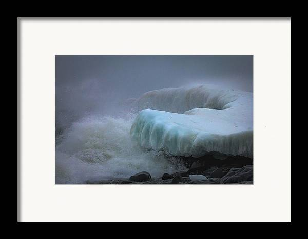 lake Superior stoney Point Ice Splash Storm Nature north Shore Frozen Blizzard Snowstorm greeting Cards mary Amerman surging Sea Framed Print featuring the photograph Surging Sea by Mary Amerman