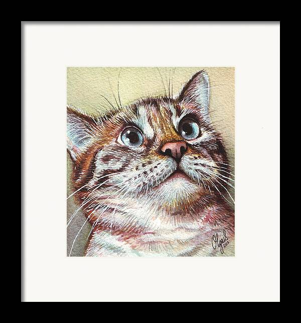Kitty Framed Print featuring the painting Surprised Kitty by Olga Shvartsur