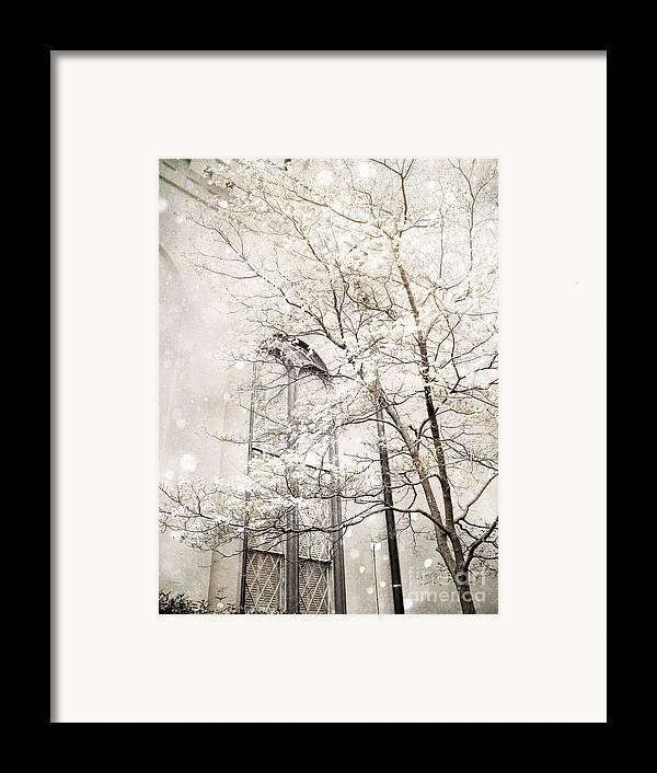 Nature Photography Framed Print featuring the photograph Surreal Dreamy Winter White Church Trees by Kathy Fornal