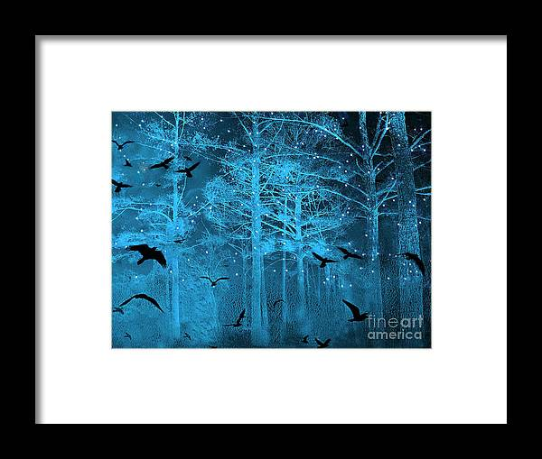 Surreal Fantasy Blue Woodlands Ravens And Stars Fairytale Fantasy Blue Nature With Flying Ravens Framed Print