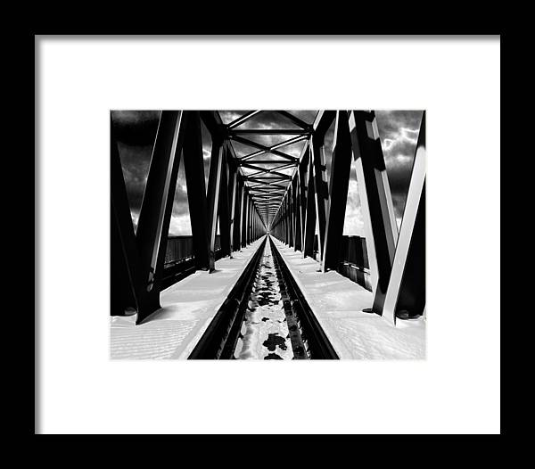 Black And White Framed Print featuring the photograph Surrealistic Symmetry by Janos Vajda - Photograph Art