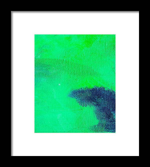 Abstract Framed Print featuring the painting Surrepititous Aqua Green by L J Smith