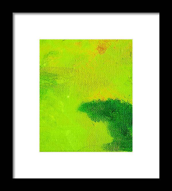 Abstract Framed Print featuring the painting Surrepititous Green by L J Smith