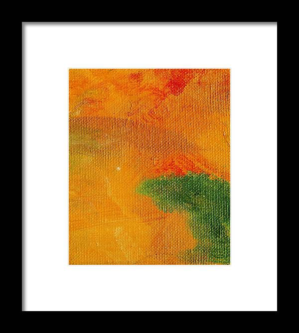 Abstract Framed Print featuring the painting Surrepititous Orange by L J Smith