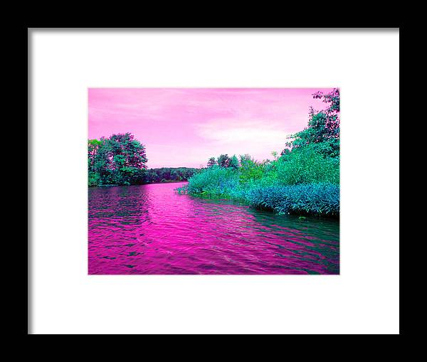 Lake Framed Print featuring the digital art Surrreal Pink Waters by Joseph Wiegand