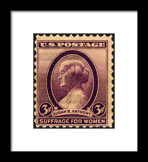 Postage Stamp Framed Print Featuring The Photograph Susan B Anthony Commemorative By Phil