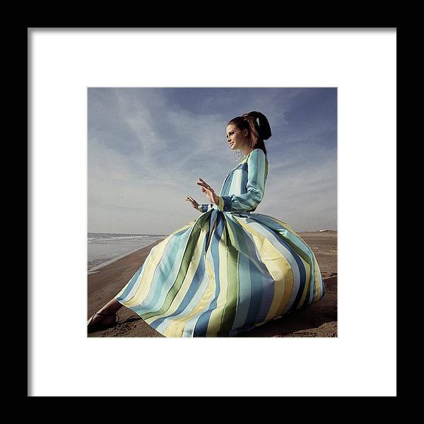 Fashion Framed Print featuring the photograph Editha Dussler Posing On A Beach by Henry Clarke