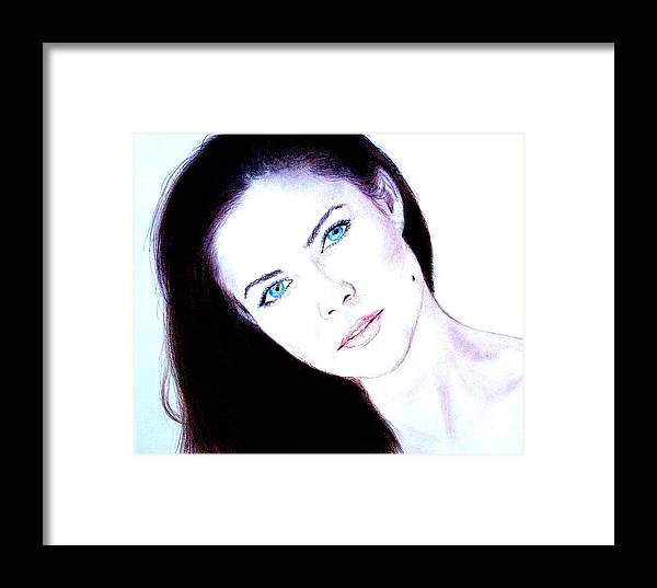 Model Framed Print featuring the drawing Susan Ward Blue Eyed Beauty With A Mole II by Jim Fitzpatrick