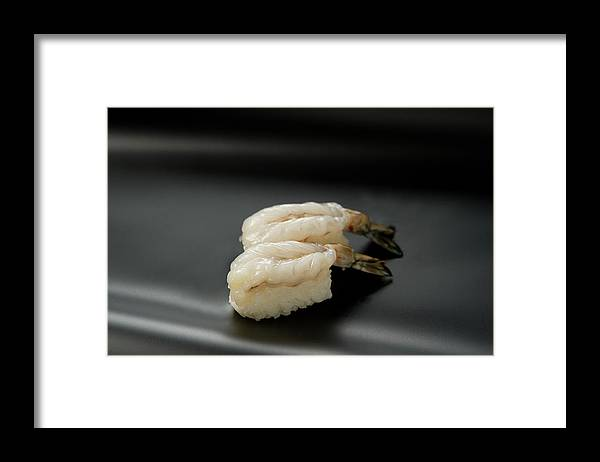 Black Background Framed Print featuring the photograph Sushi Ebi by Ryouchin
