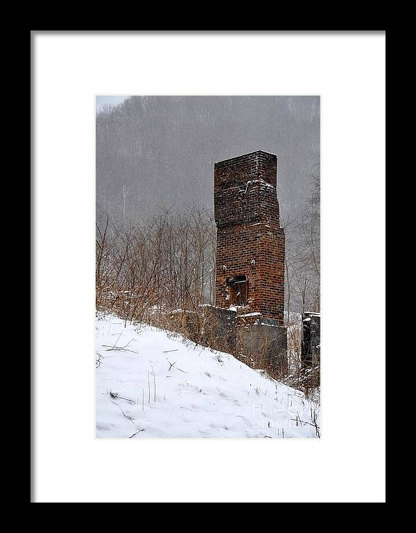 Chimney Framed Print featuring the photograph Sutherland Chimney In Winter Number One by Christina McKinney