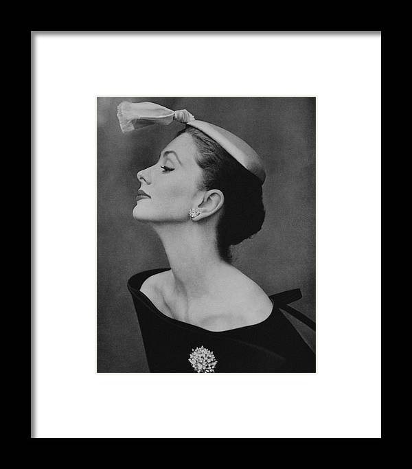 Accessories Framed Print featuring the photograph Suzy Parker In An Off-the-shoulder Dress by John Rawlings