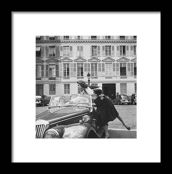 Personality Framed Print featuring the photograph Suzy Parker Outside The French Vogue Office by Jacques Boucher
