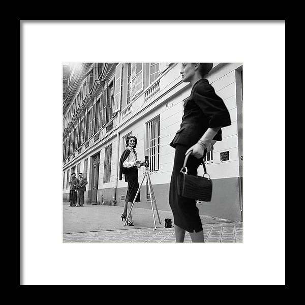Fashion Framed Print featuring the photograph Suzy Parker Photographing A Model In Front by Jacques Boucher