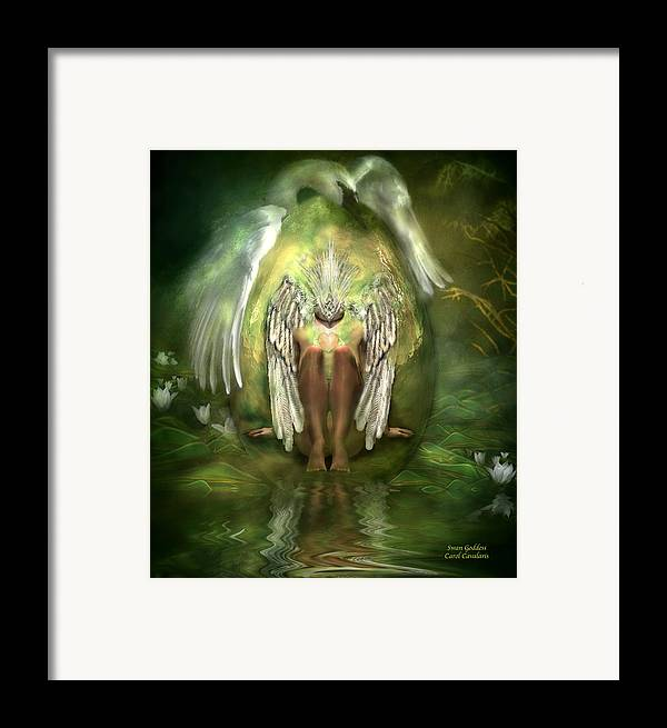 Goddess Framed Print featuring the mixed media Swan Goddess by Carol Cavalaris
