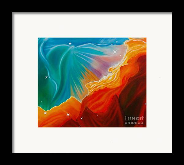Nebula Framed Print featuring the painting Swan Nebula by Barbara McMahon