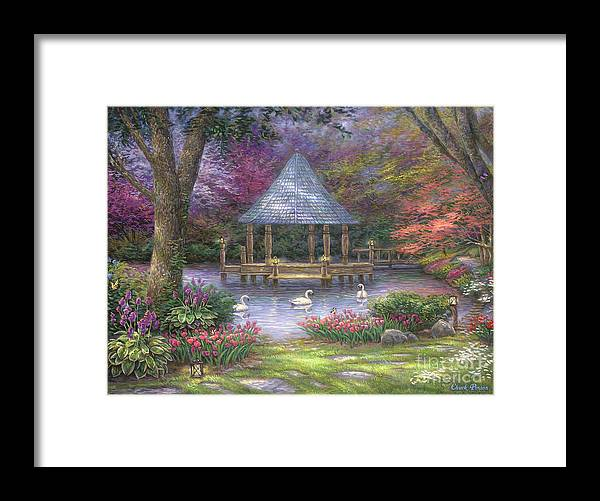 Commission Framed Print featuring the painting Swan Pond by Chuck Pinson