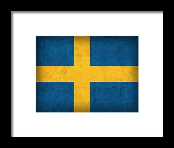 Sweden Flag Vintage Distressed Finish Framed Print featuring the mixed media Sweden Flag Vintage Distressed Finish by Design Turnpike