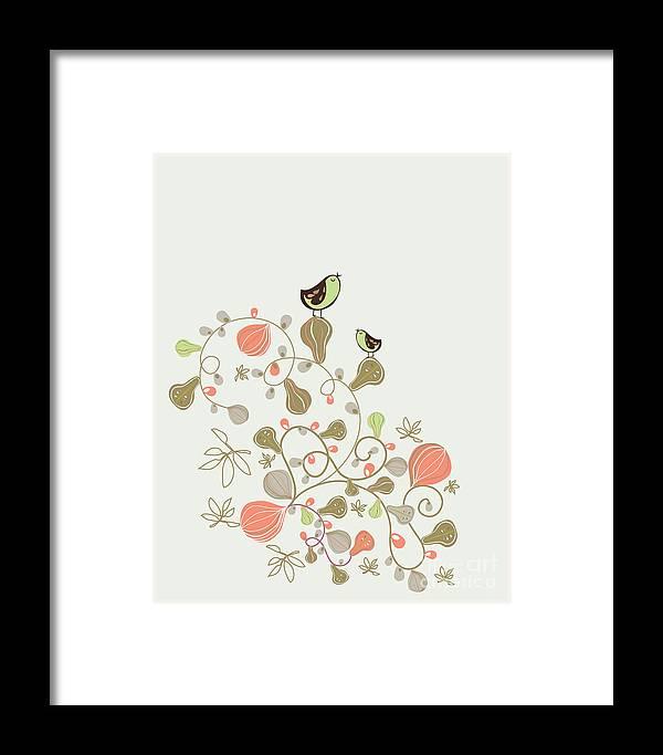 Beauty Framed Print featuring the digital art Sweet Bird Wallpaper Design by Vecstock.com
