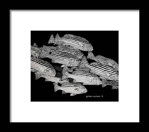 Fish Framed Print featuring the drawing Sweet Lip School by Denis Gloudeman
