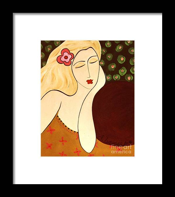 #female #figurative #floral Framed Print featuring the painting Sweet Sixteen by Jacquelinemari
