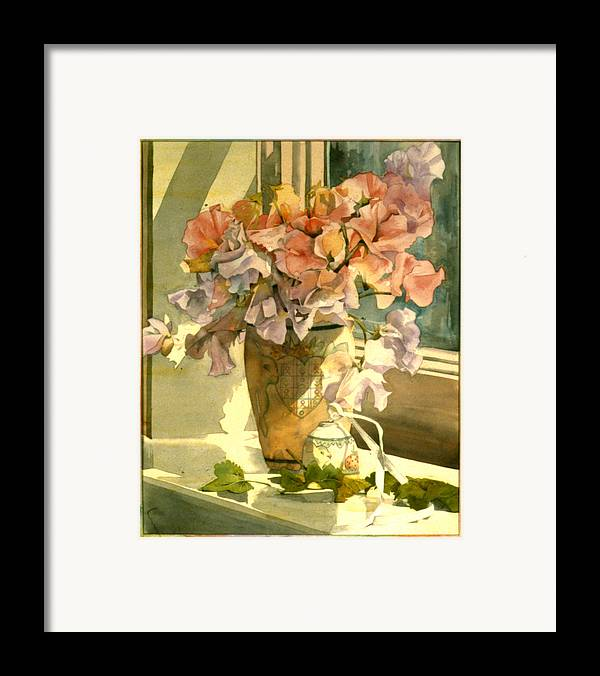 Julia Rowntree Framed Print featuring the photograph Sweetpea On The Windowsill by Julia Rowntree