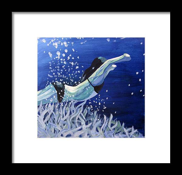 Swim Framed Print featuring the painting Swim by Ingrid Torjesen