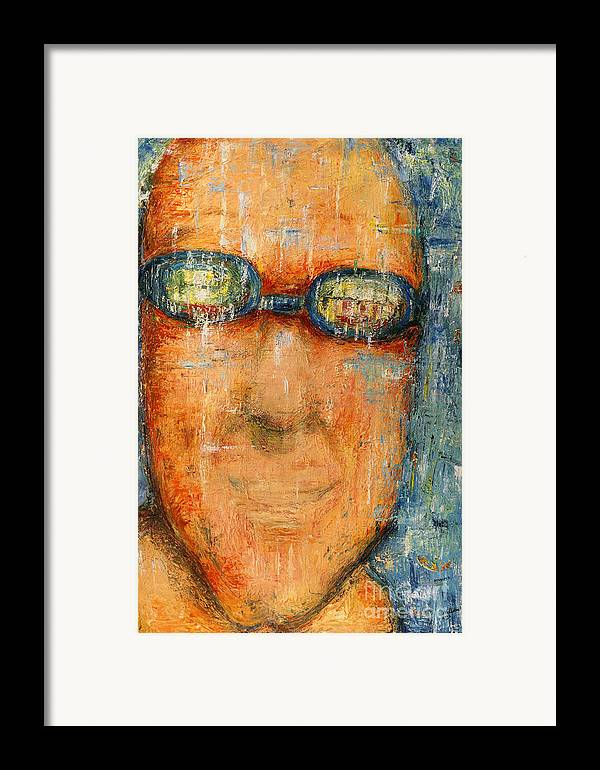 Goggle Framed Print featuring the painting Swimmer - 2012 by Nalidsa Sukprasert