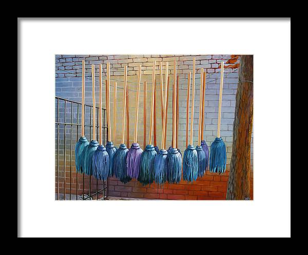 Landscape Framed Print featuring the painting Swinging Blues by Sue Darius