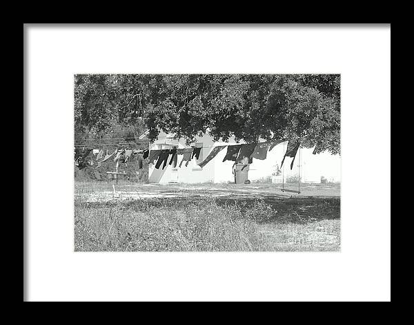Black And White Laundry Framed Print featuring the photograph Swinging Laundry by Michelle Powell