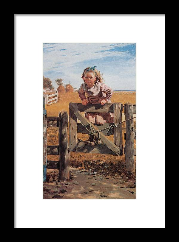 John Brown Framed Print featuring the digital art Swinging On A Gate by John Brown